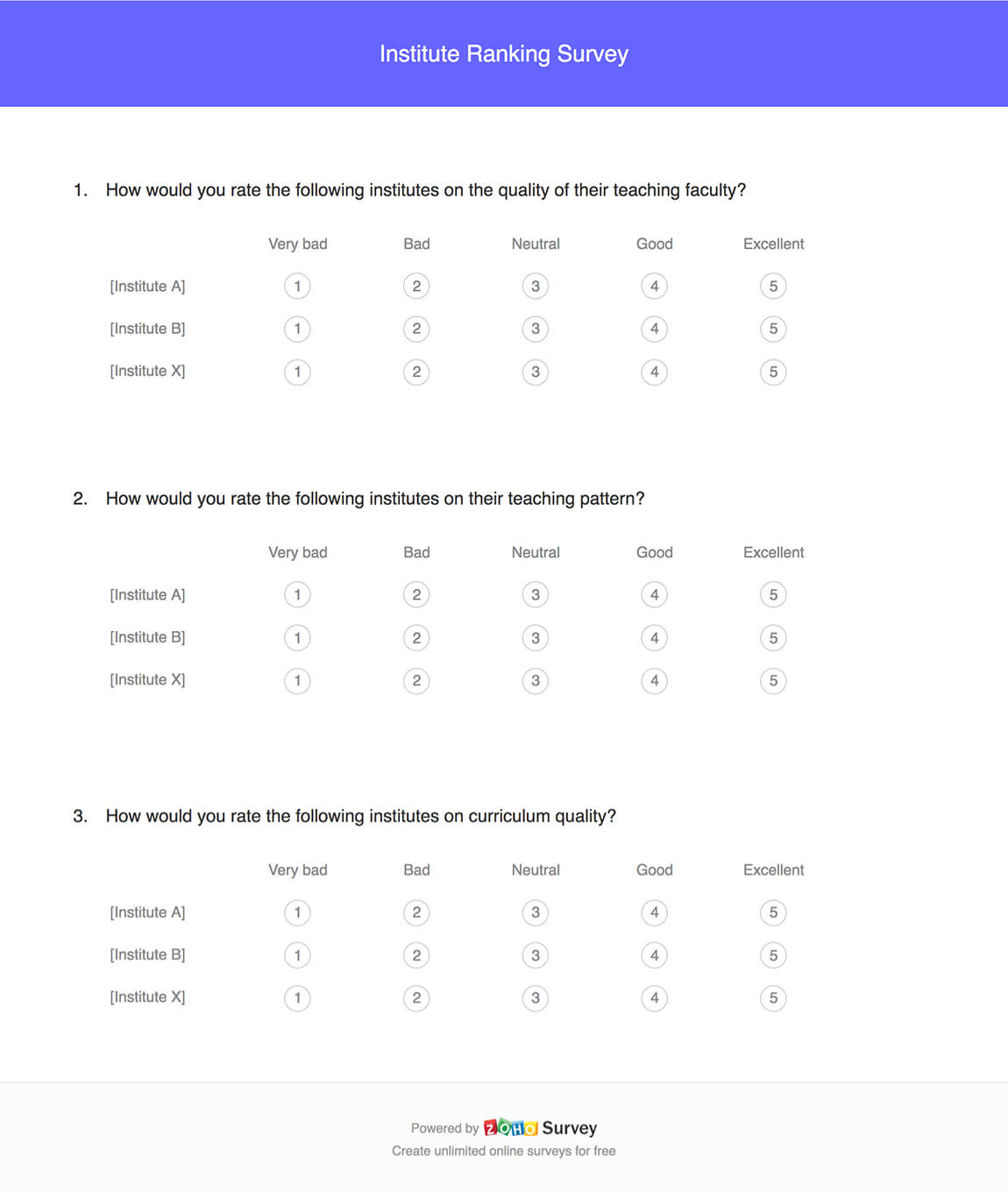 Institute ranking survey questionnaire template