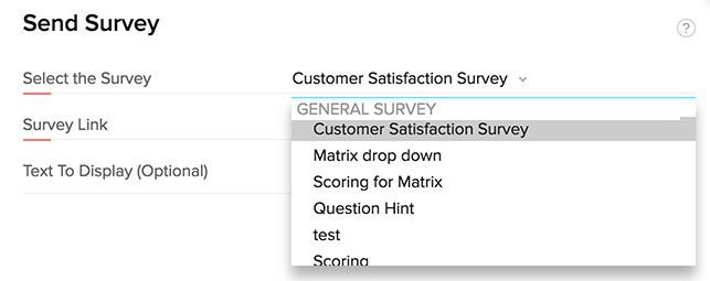 Send a survey from Zoho CRM