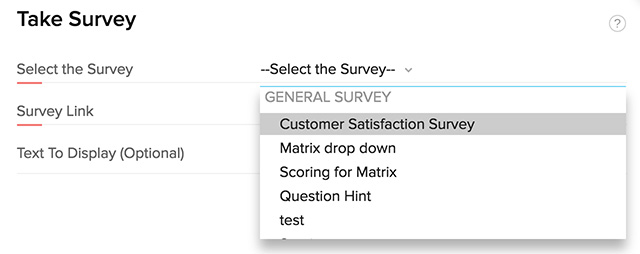 Take survey from Zoho CRM