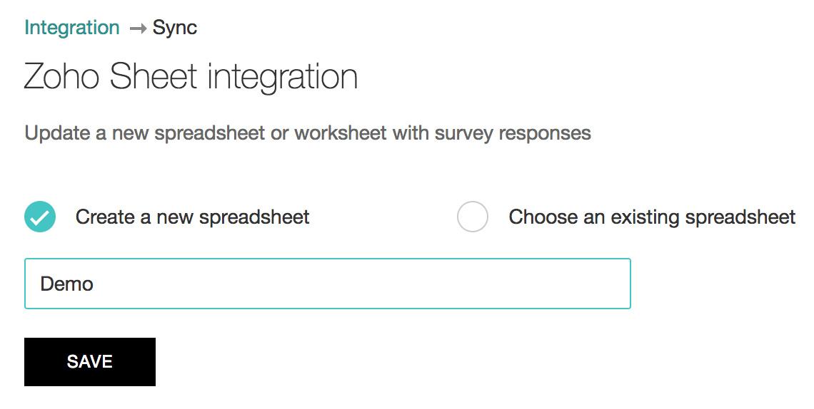 Zoho Survey integration with Zoho Sheet
