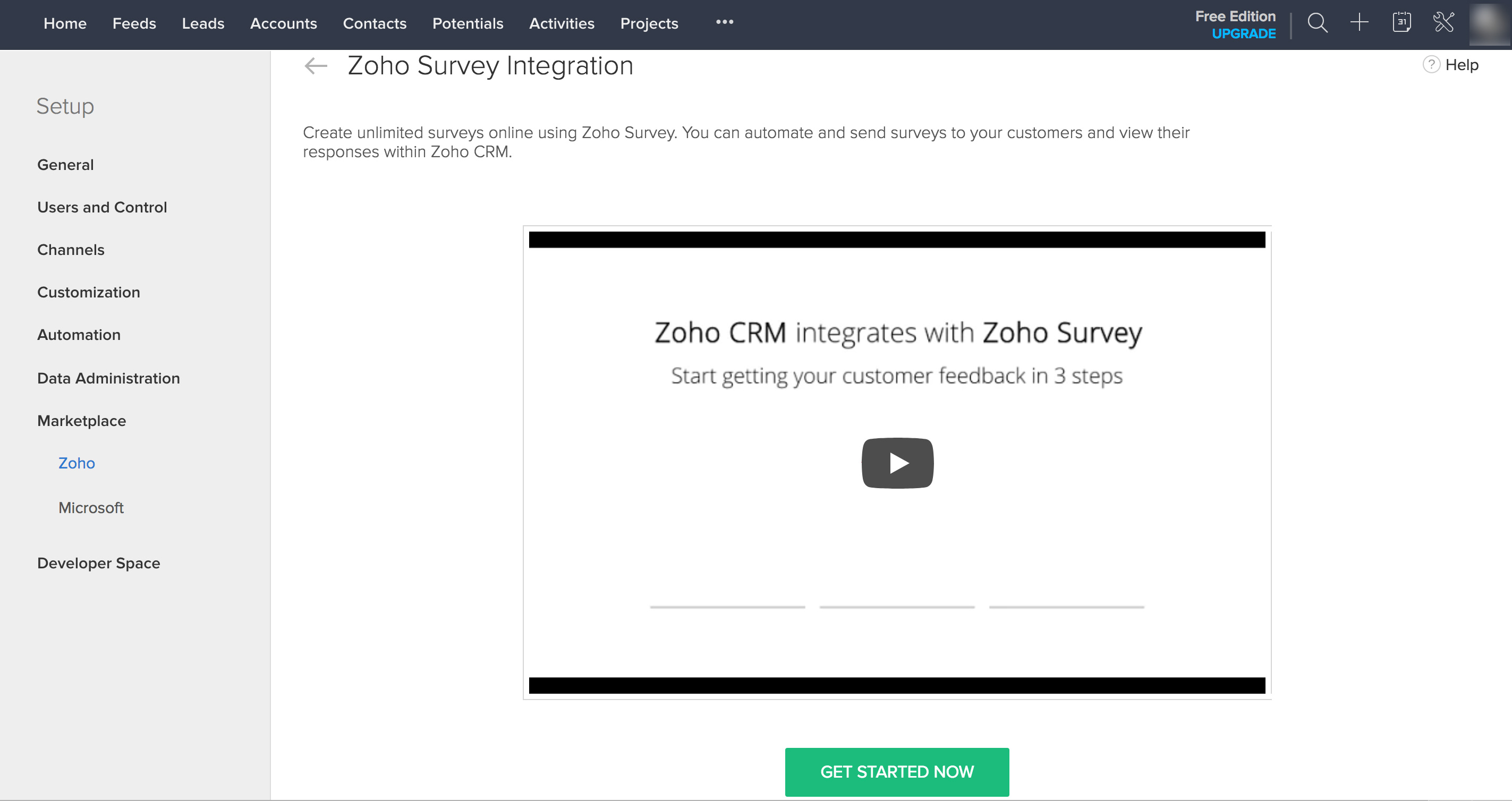 Get started with Zoho CRM integration