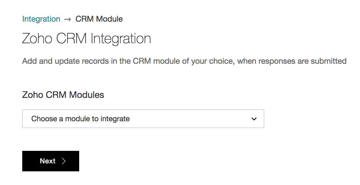 Select a Zoho CRM module
