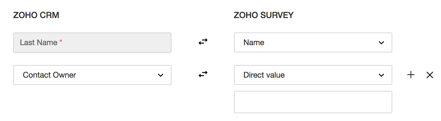 Map fields in Zoho Survey with Zoho CRM
