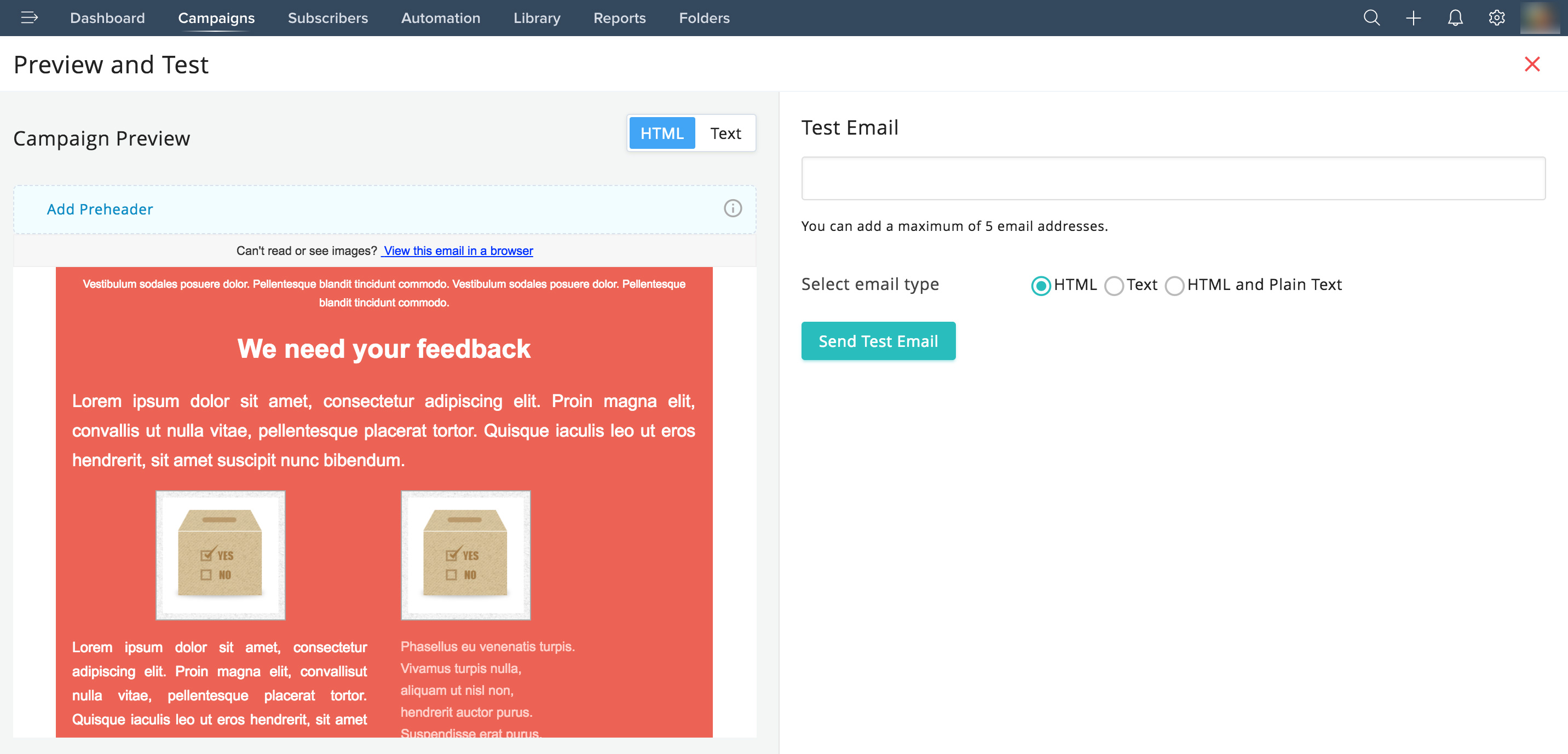 Send test email in Zoho Campaigns