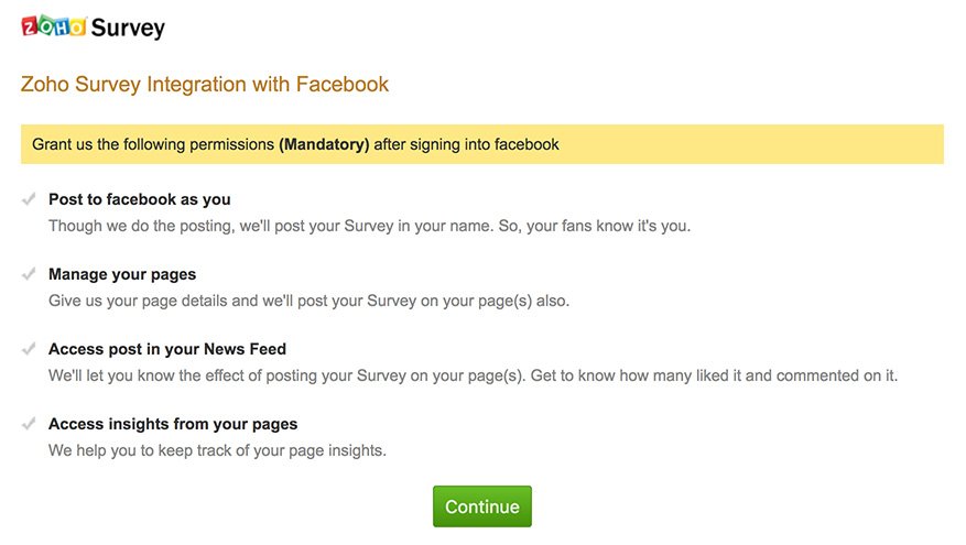 Integrate survey with Facebook