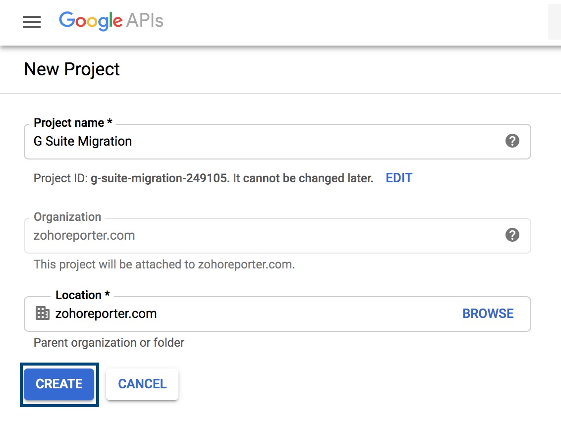 Creating project in GSuite