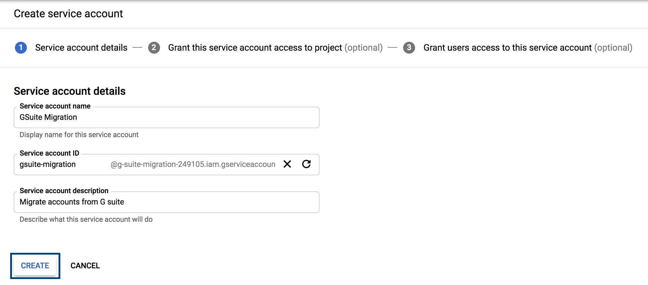 Service Account details in GSuite