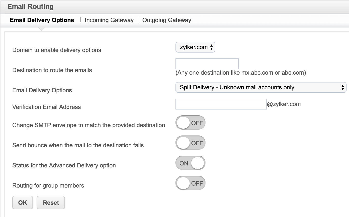 Email Routing - Zoho Mail Control Panel on