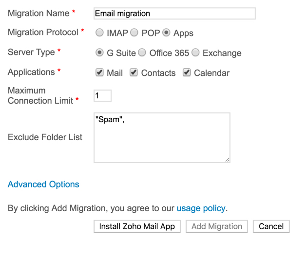 Migrating emails from previous service
