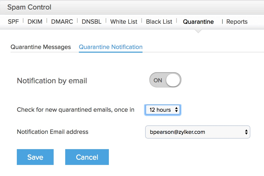 Organization Spam Control - Zoho Mail Control Panel