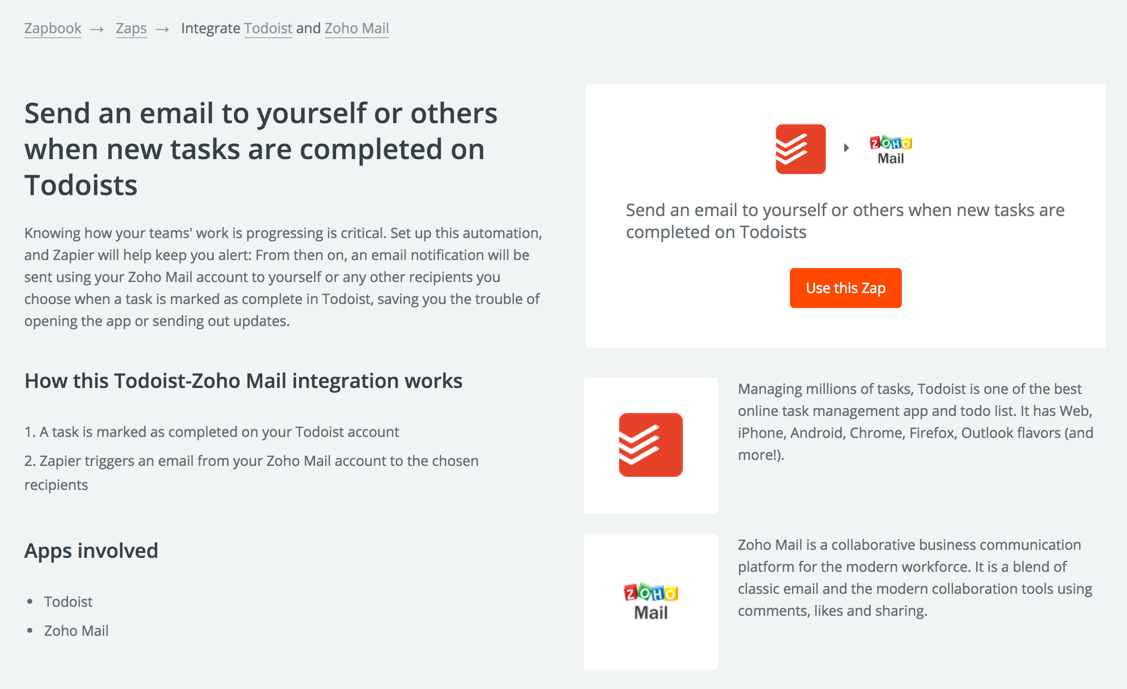 Integrations in Zoho Mail