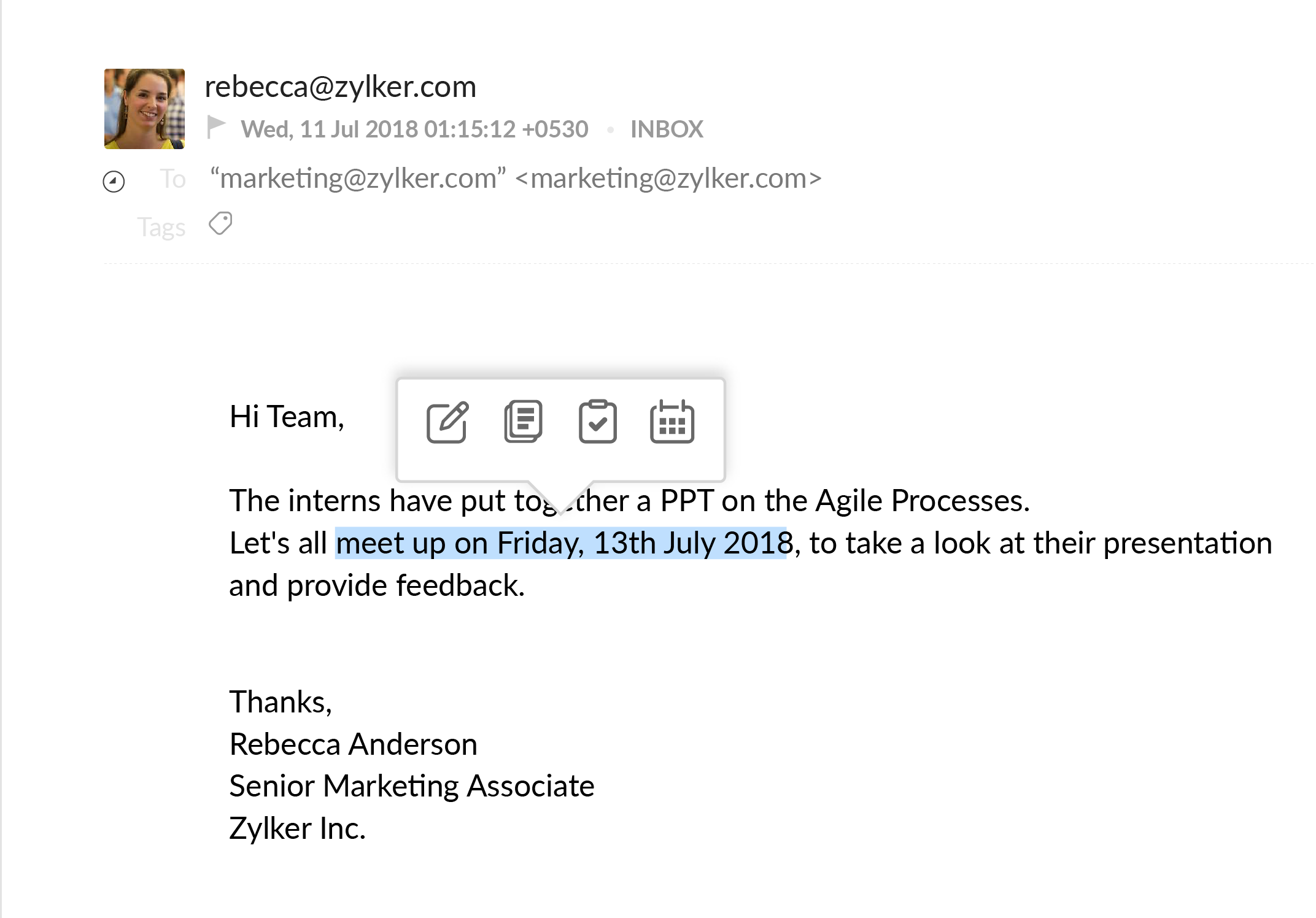 Mail integration with Calendar