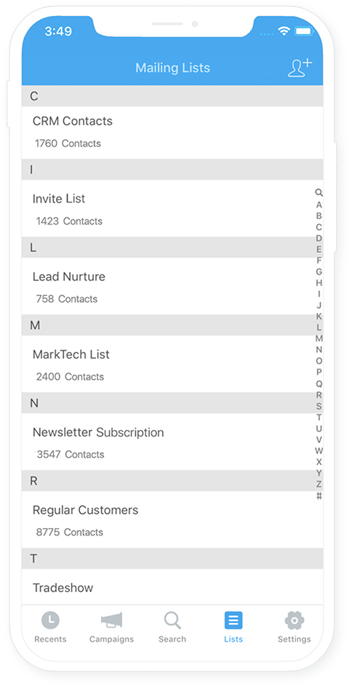 Manage contacts and lists