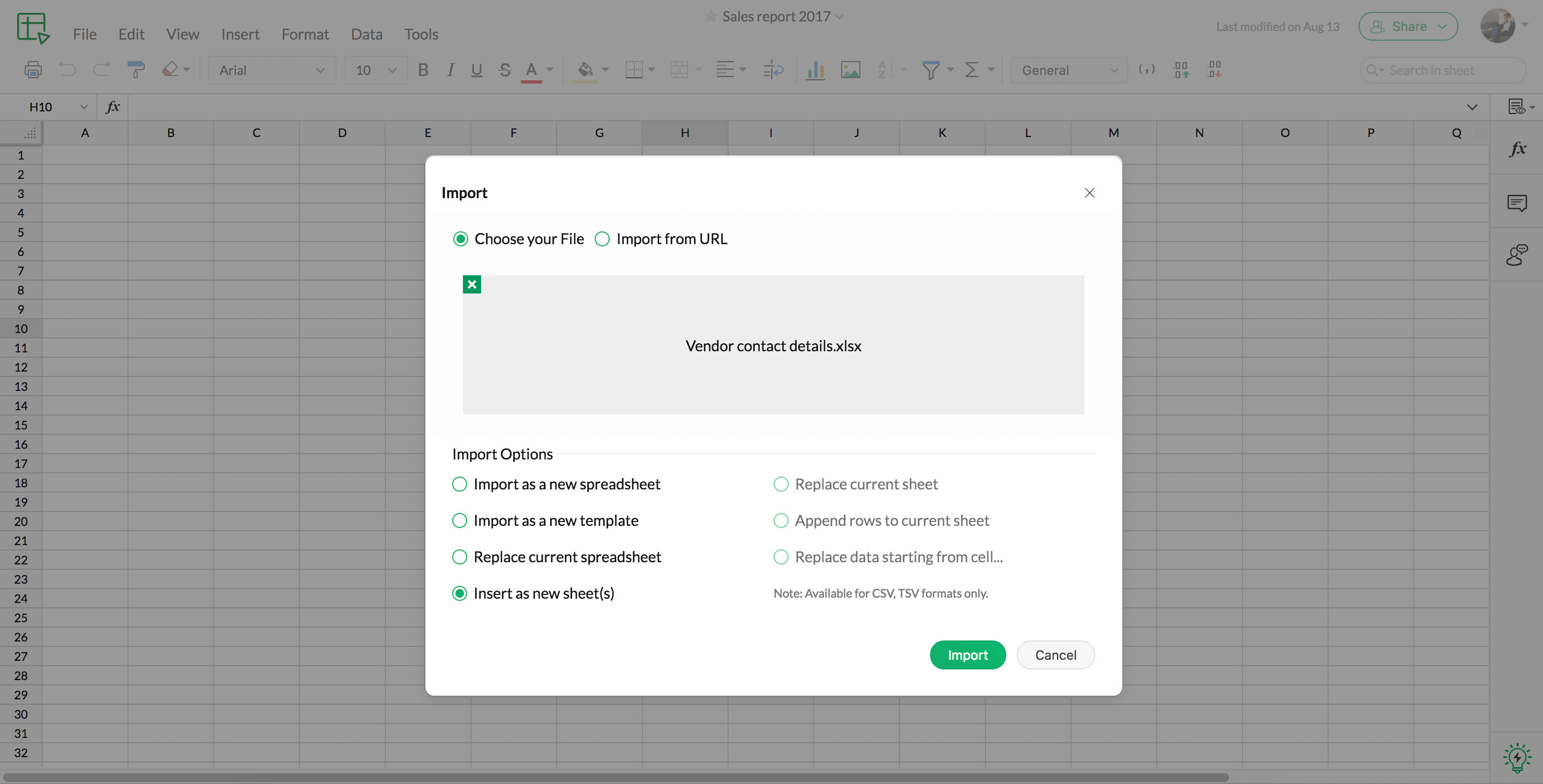 Import spreadsheets in Zoho Sheet