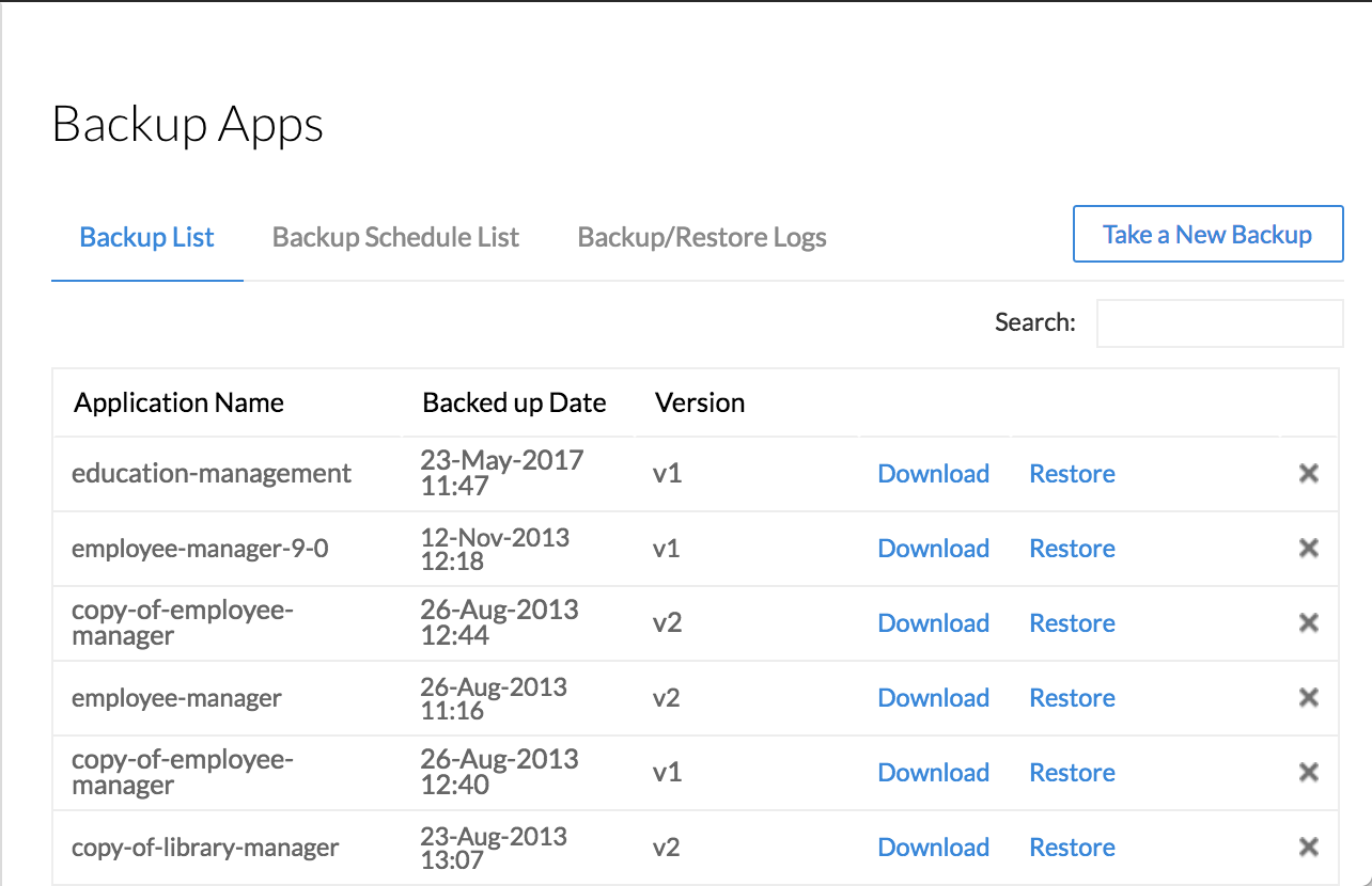 Backup and restore your apps