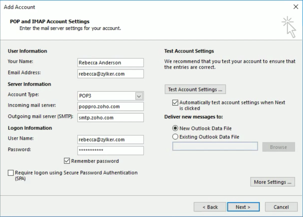 Microsoft Outlook POP configuration