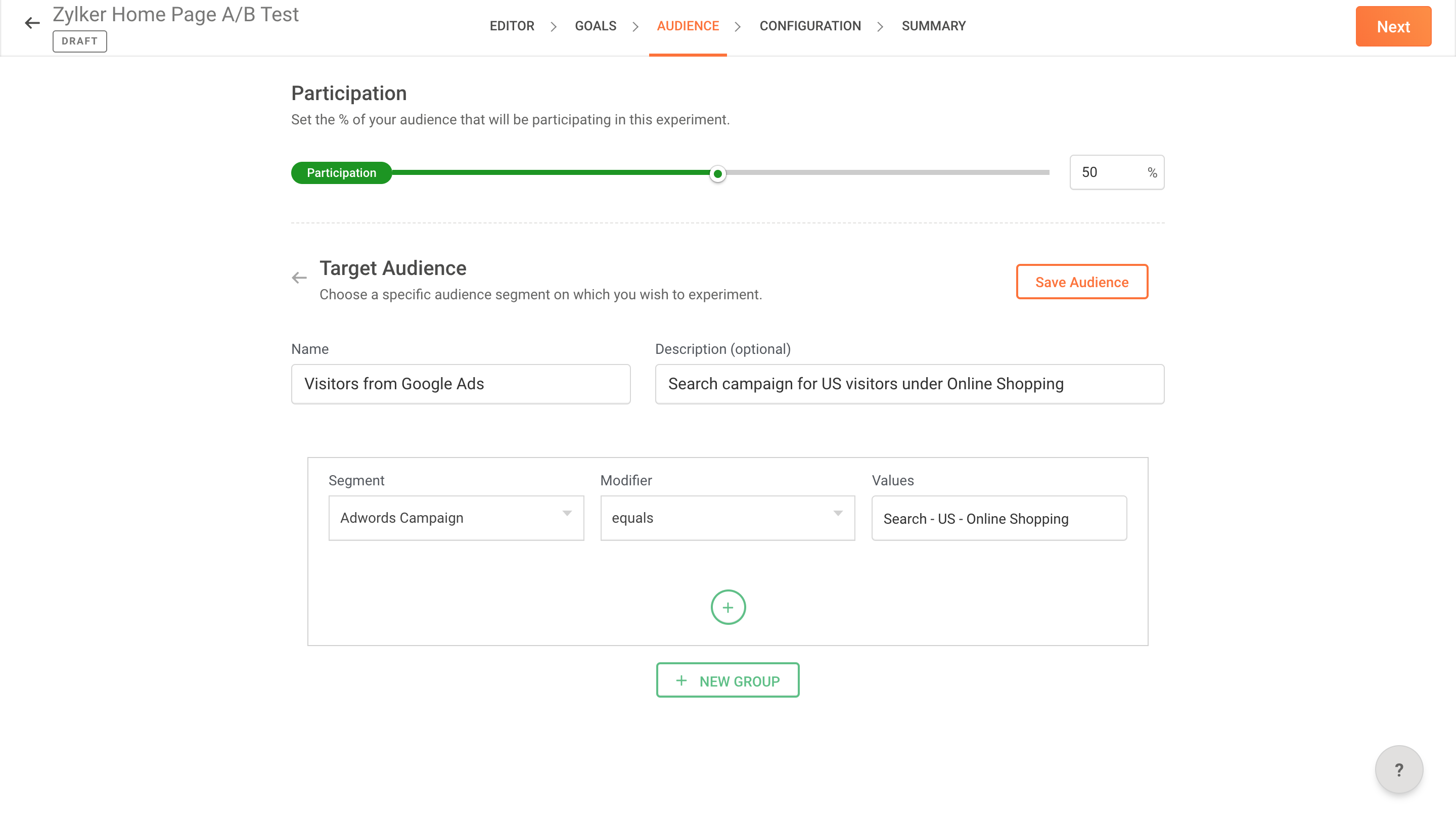 Tracking Audience from Google Ads in a Test | Zoho PageSense