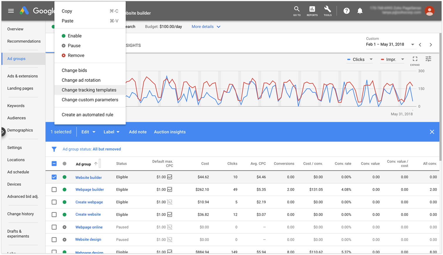 Changing Tracking Template in Google Ads while Integrating with PageSense
