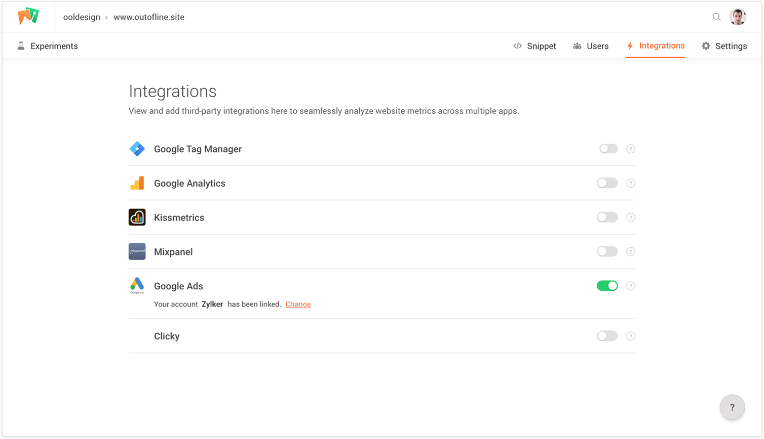 Enabling PageSense and Google Ads Integration
