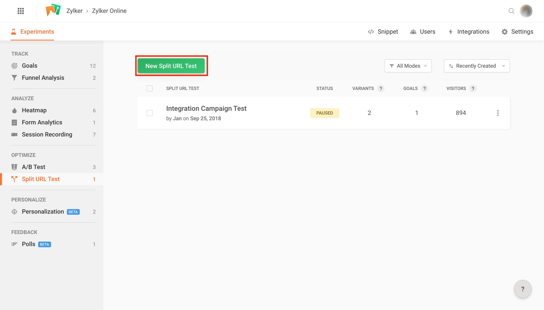 PageSense Help | Create a Split URL Test