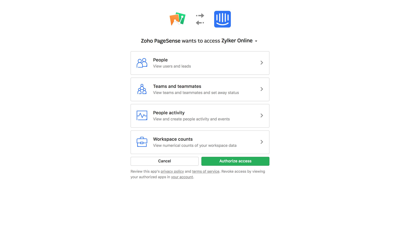 Authorizing Zoho PageSense's integration with Intercom