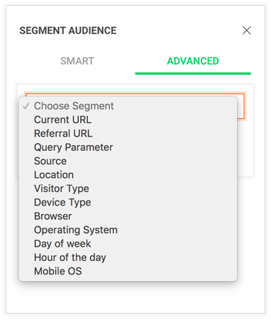 Types of advanced segments in Zoho PageSense