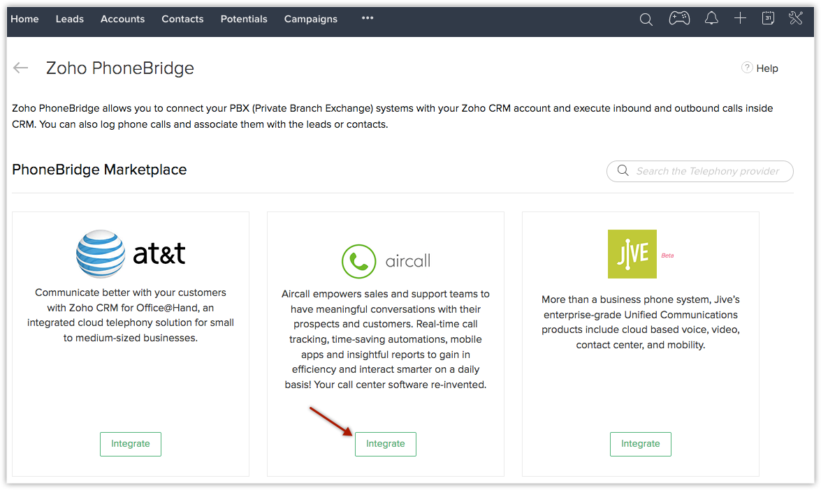 Aircall integrate aircall | online help - zoho crm