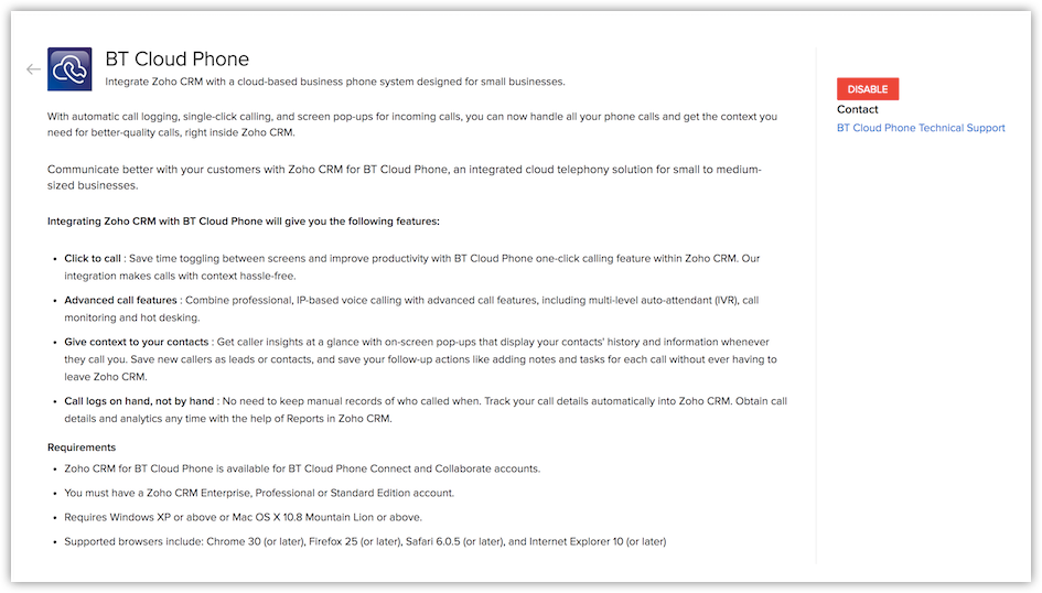 Integrating BT Cloud Phone | Online Help - Zoho CRM