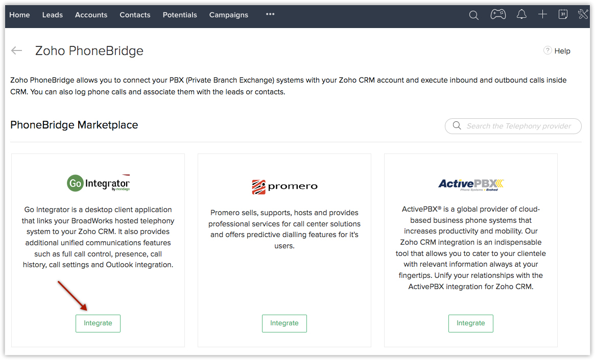 Zoho Phonebridge Go Integrator Integration