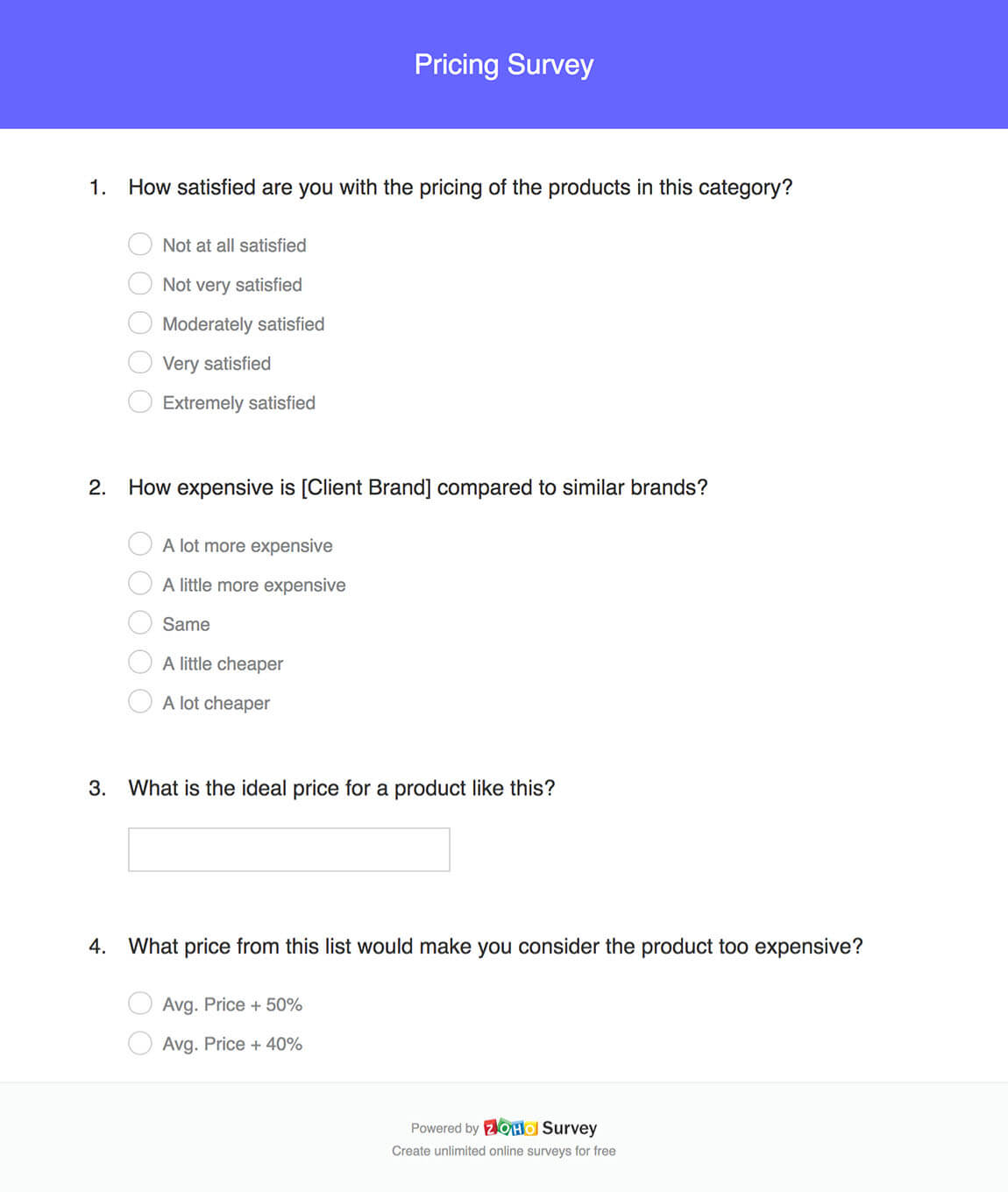 Pricing survey questionnaire template