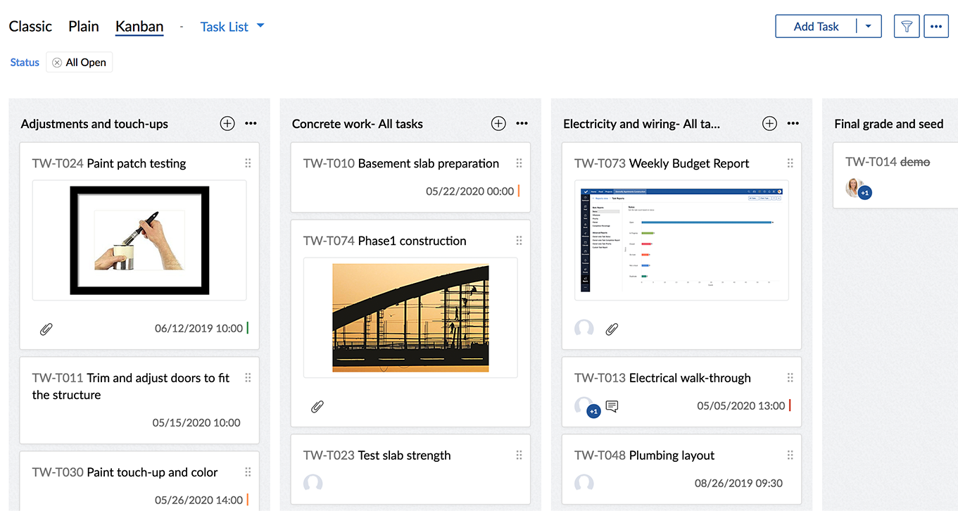 Kanban View for Tasks | Online Task Manager :Zoho Projects