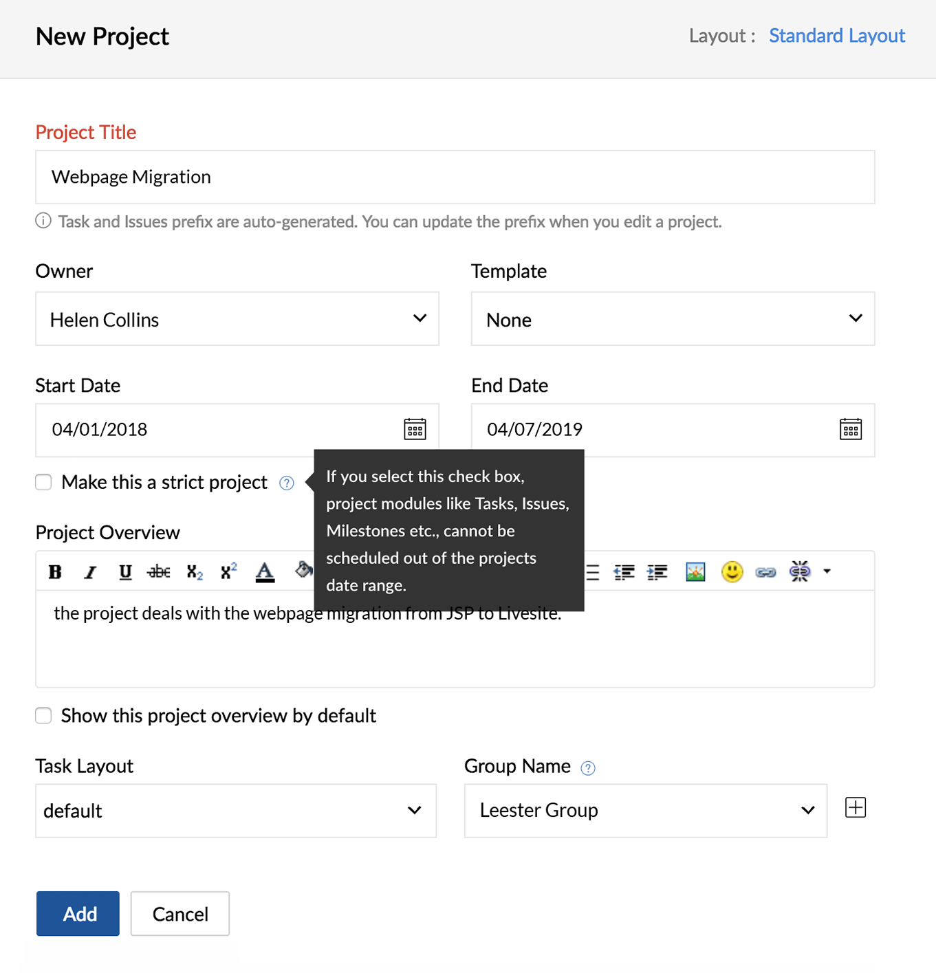 Create Projects | Zoho Projects