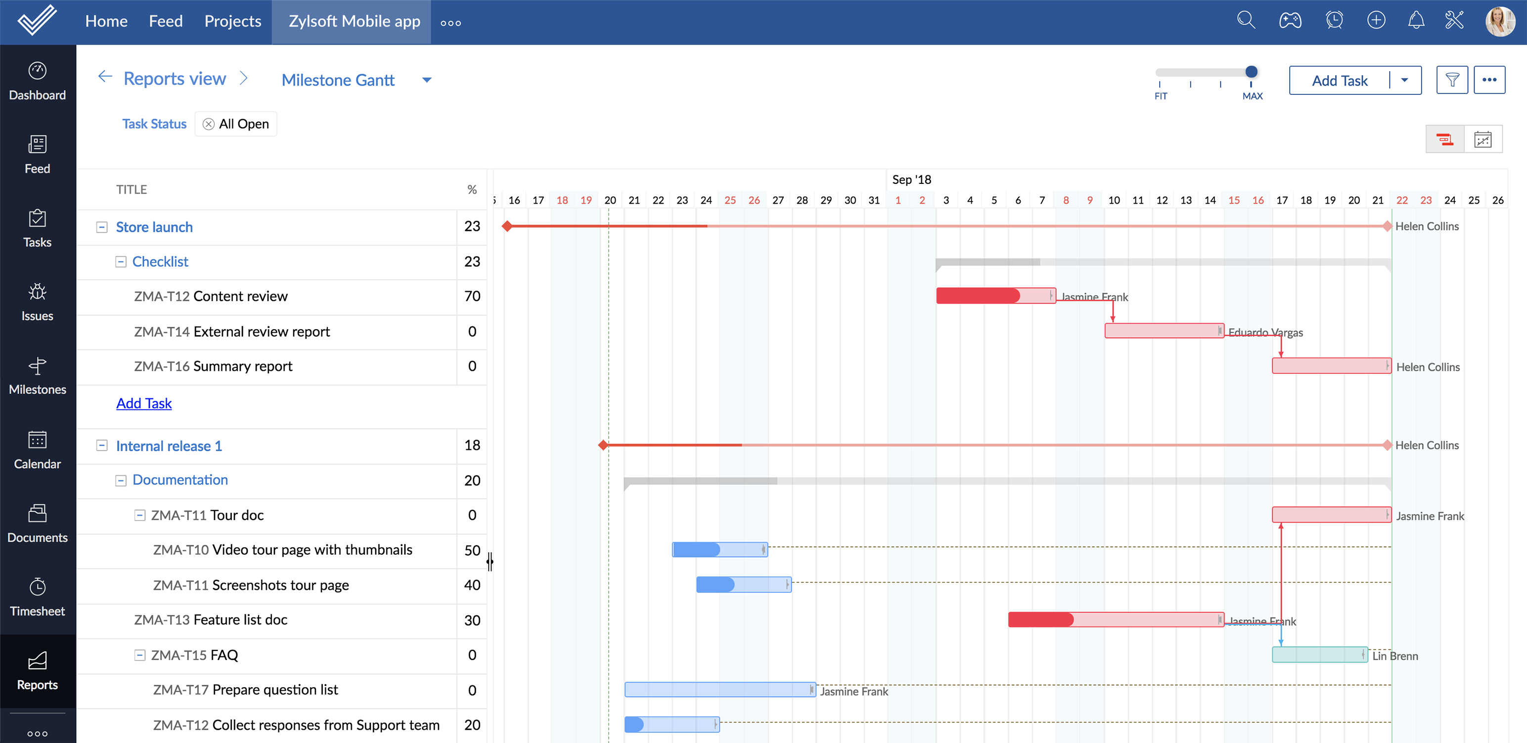 Gantt chart template - Critical path for tasks