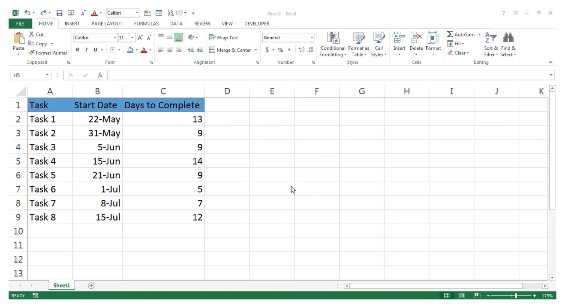 Create a Gantt chart in Excel : Step 1 - Zoho Projects