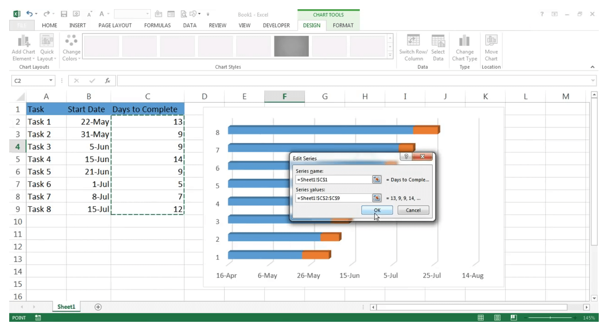 Make Gantt chart in Excel : Step 12 - Zoho Projects