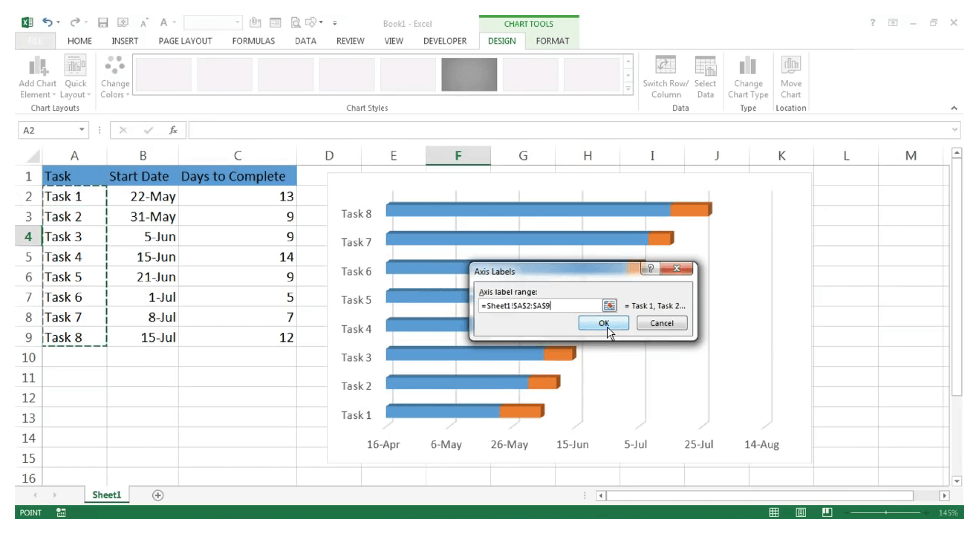 Use Gantt chart in Excel : Step 14 - Zoho Projects