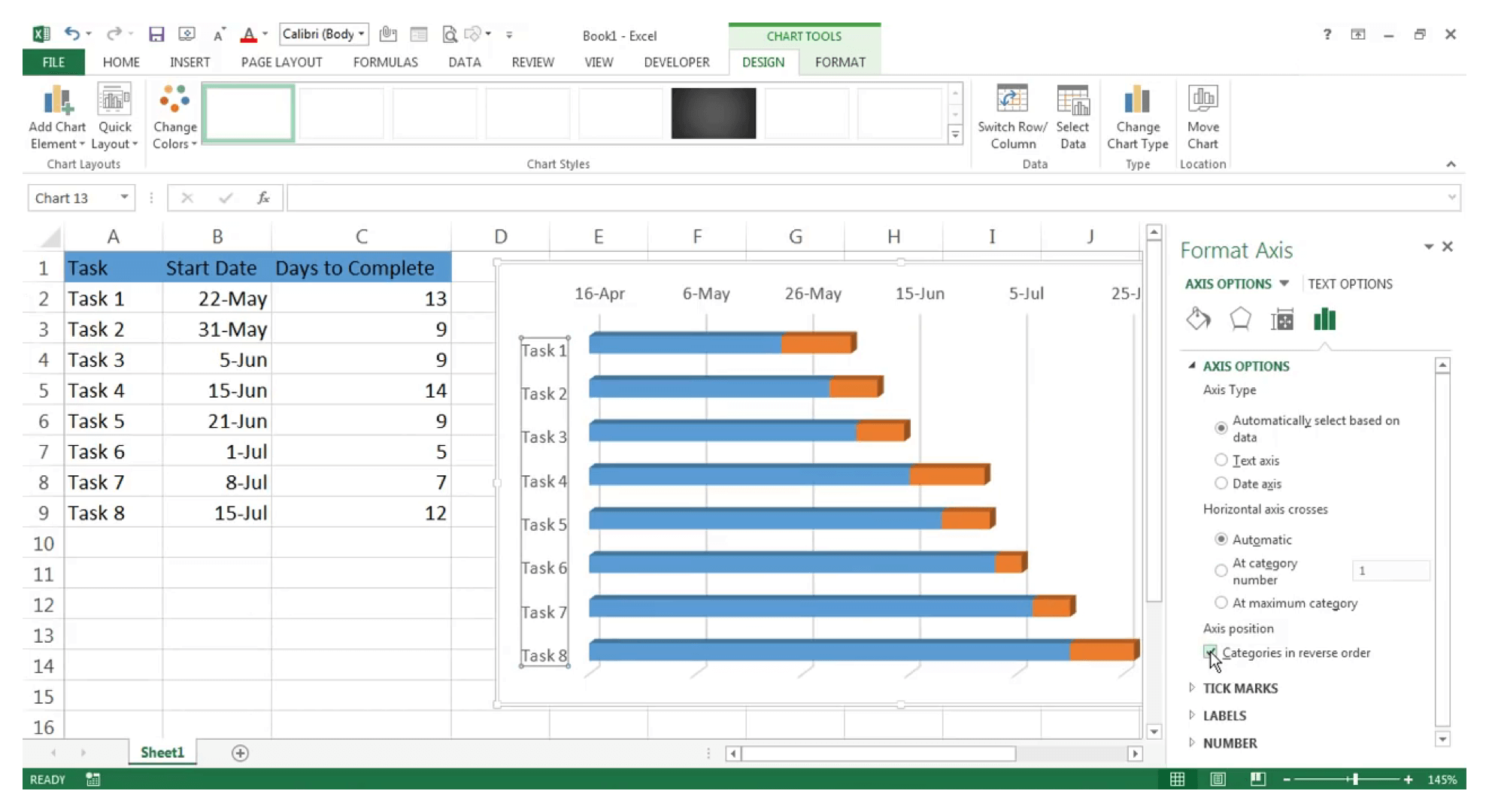 Make Gantt chart in Excel : Step 17 - Zoho Projects