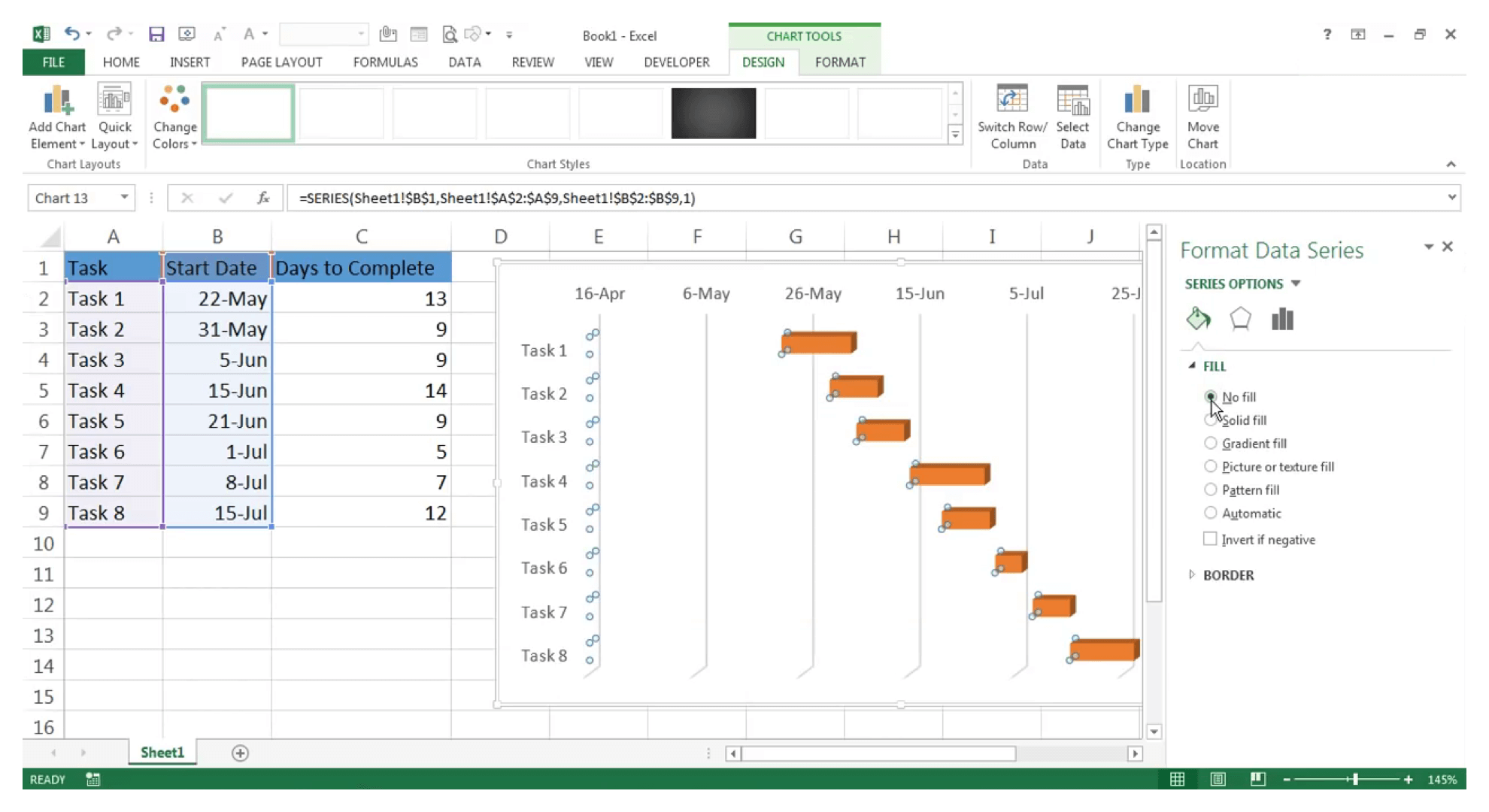 Create Gantt chart in Excel : Step 20 - Zoho Projects