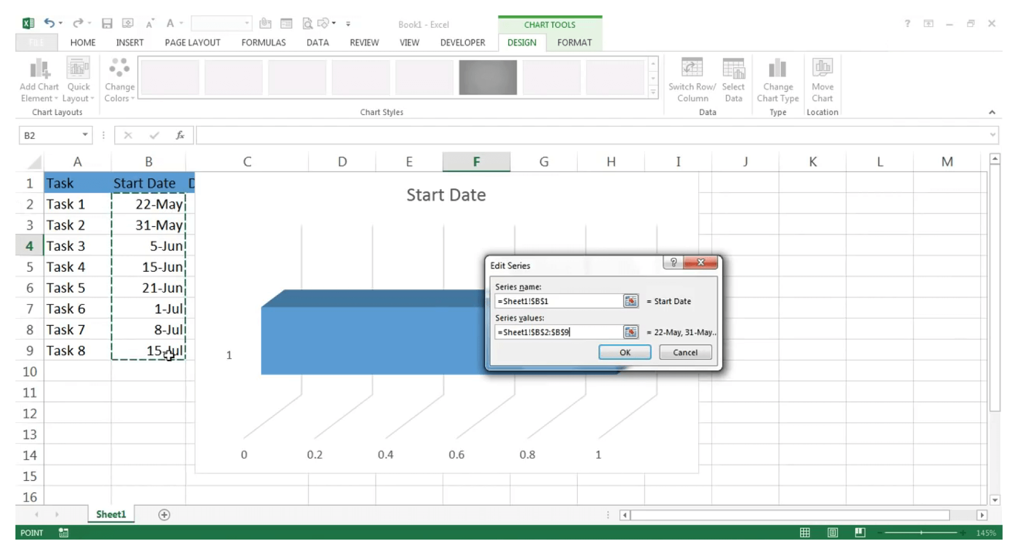 Create Gantt chart in Excel : Step 6 - Zoho Projects