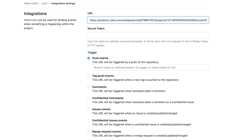 Gitlab integration | Zoho Projects