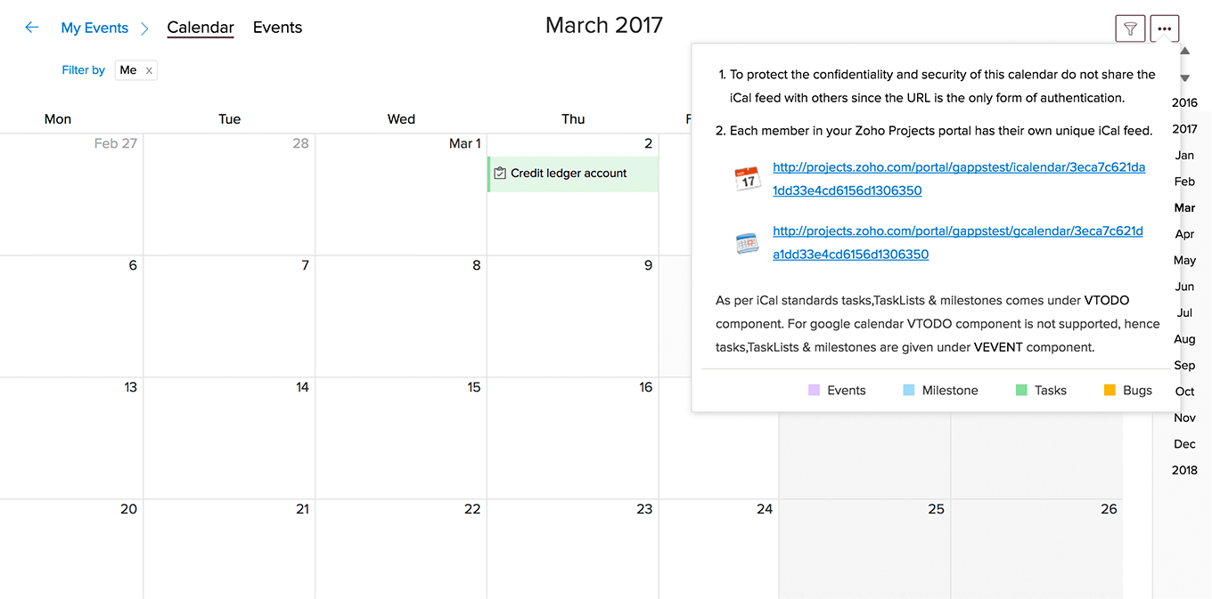 Events in Google Calendar | Zoho Projects