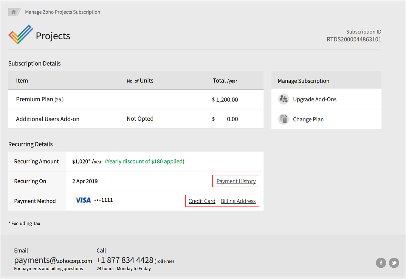 Download subscription invoice | Online help | Zoho Projects