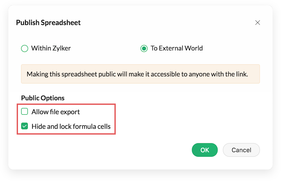 Hide and lock formula cells, disallow export in published spreadsheets.