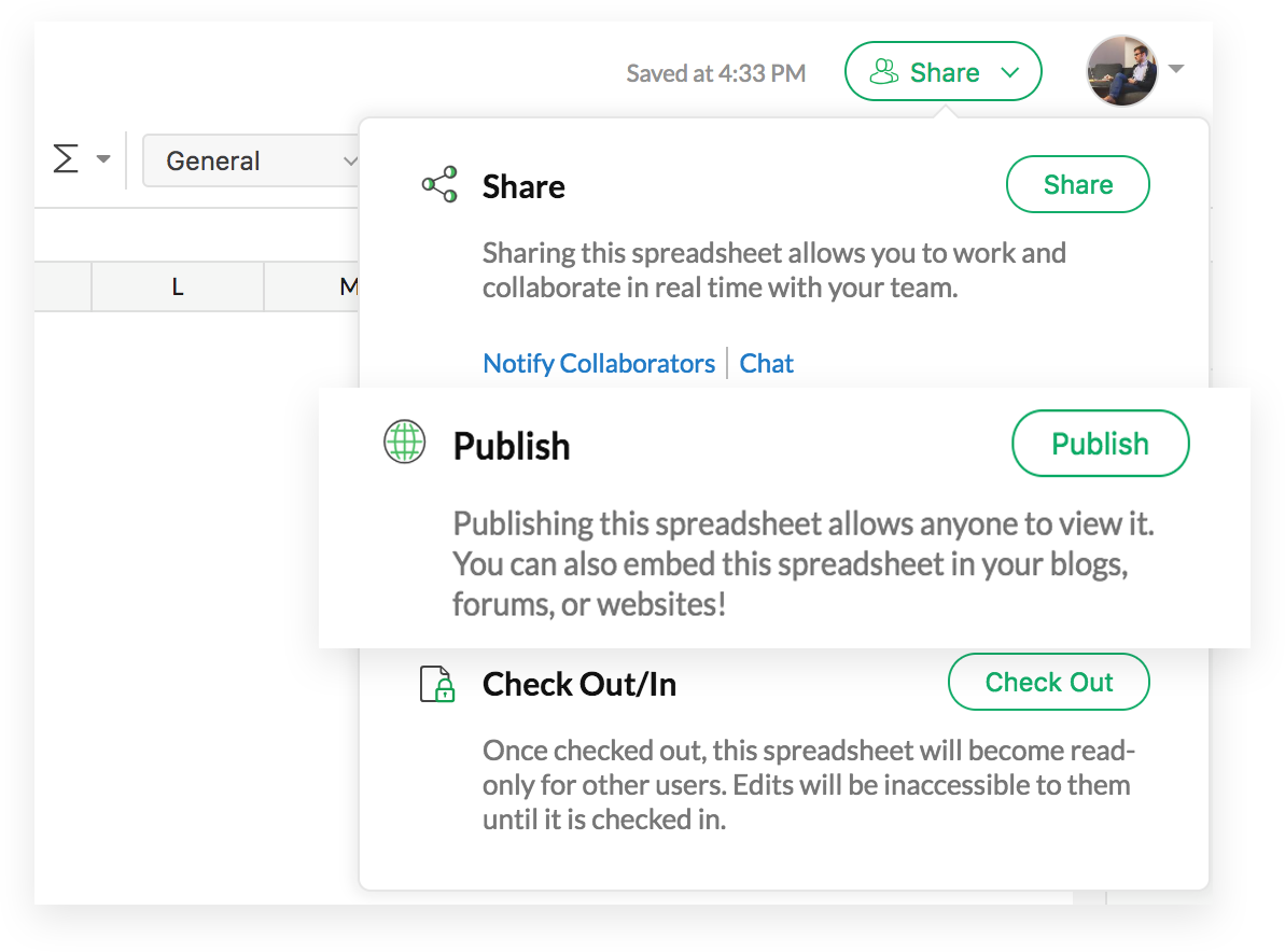 Publish spreadsheets in Zoho Sheet