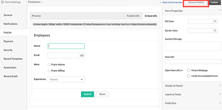 Publish and Embed Forms | Help - Zoho Creator
