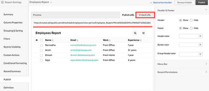 Publish and Embed Reports | Help - Zoho Creator