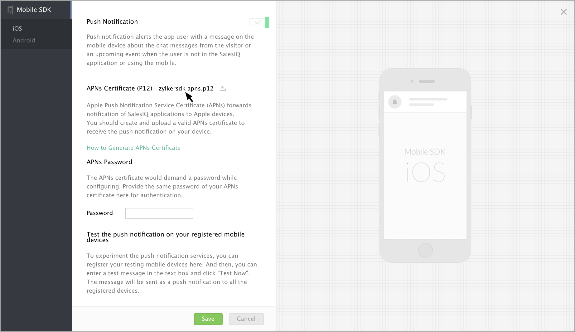 Push Notification Settings- Zoho SalesIQ iOS SDK