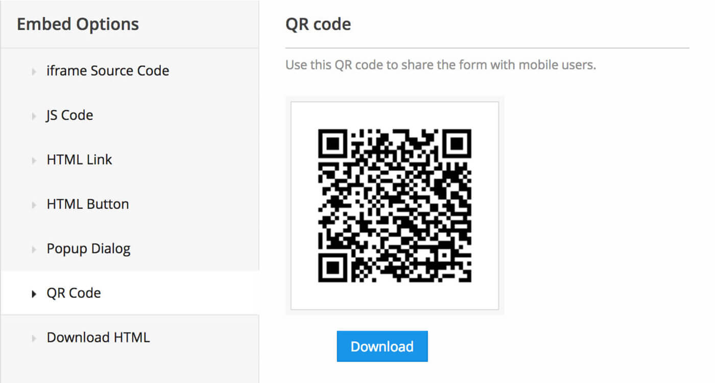 QR code for forms