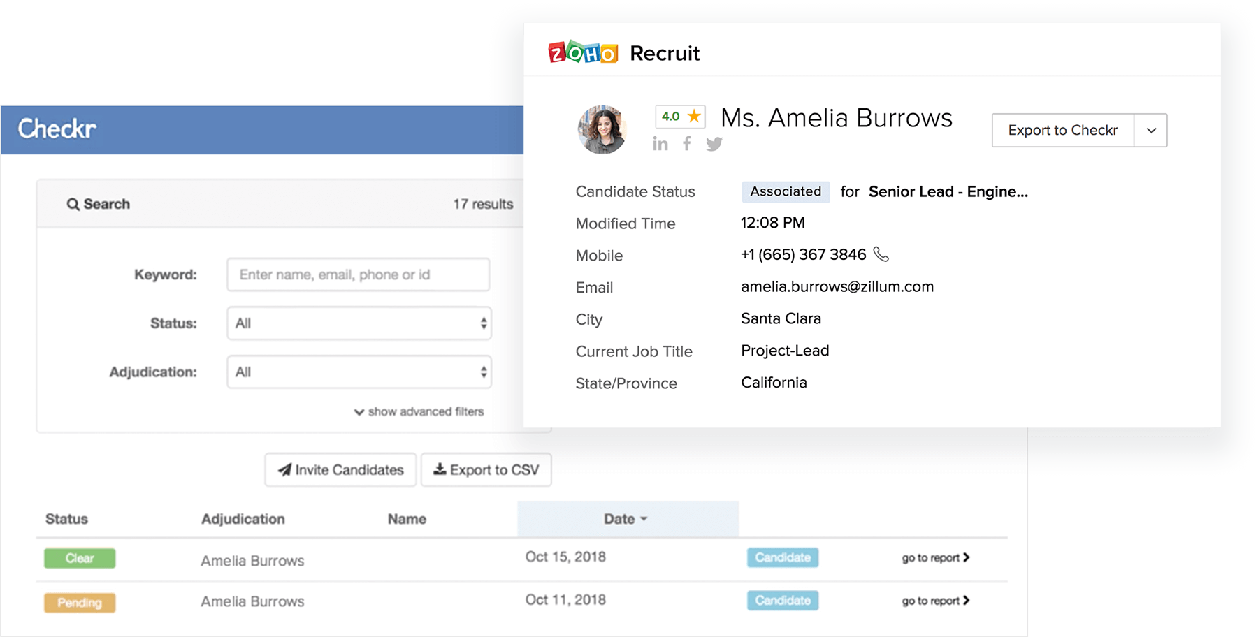 Background Check - Candidate Management - Zoho Recruit