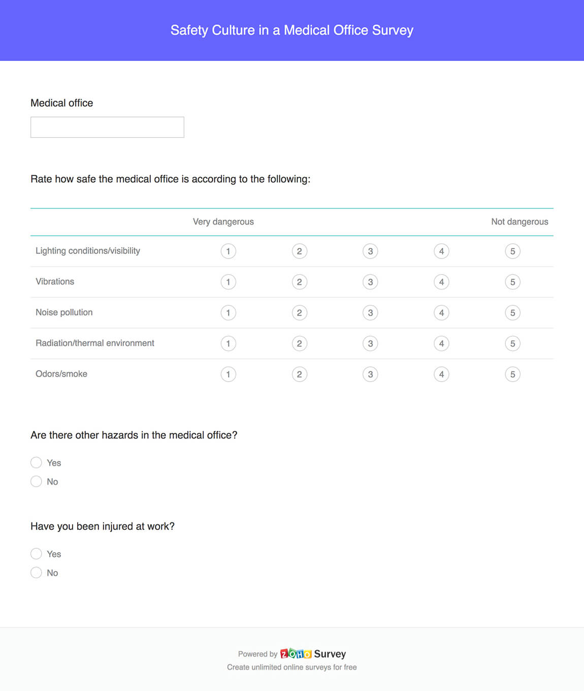 Safety culture in a medical office survey questionnaire template